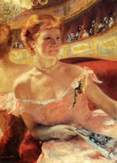 1879 Woman with a Pearl Necklace in a Loge by Cassatt