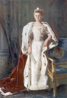 1901 Queen Wilhelmina in court dress