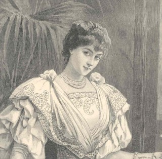 Closeup from Worth gown illustrated in The Queen 1895