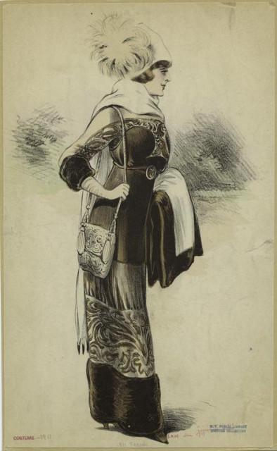 1911 Woman in brown dress wearing a hat