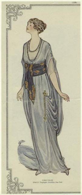 1913 blue evening gown from New York Times