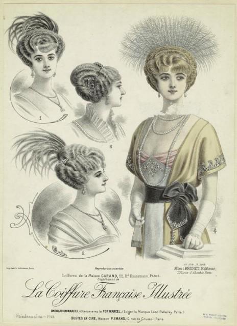 1913 Coiffures de la Maison Garand, 55, Bd. Haussmann, Paris by Wintz from Coiffure francaise illustrèe