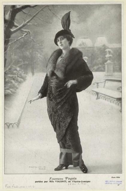 """1913 Fourrures Paquin portées par Mlle Visconti, de l""""Opéra-Comique from Comoedia Illustré"""