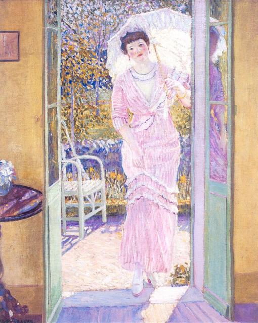 1913ca. In the Doorway (Good Morning) by Frederick C. Frieseke (Butler Institute of American Art) Athenaeum