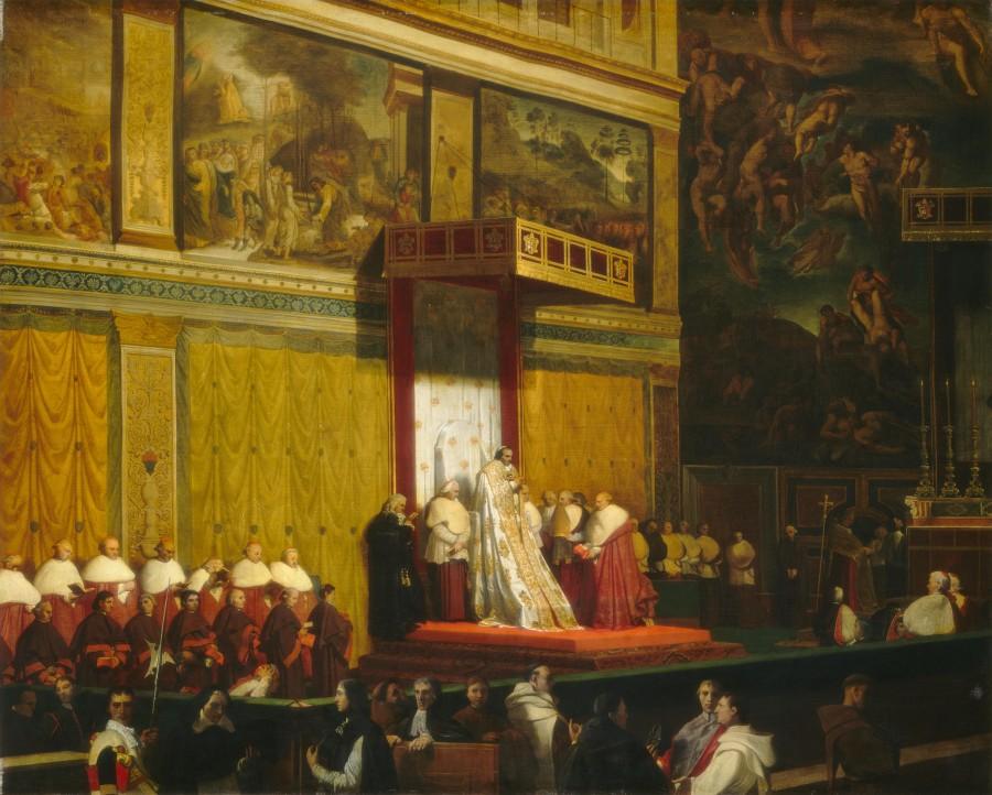 1814_Папа Пий VII в Сикстинской Капелле (74.5 х 92.7 и 98 х 117 см) (Вашингтон, Нац. галерея)
