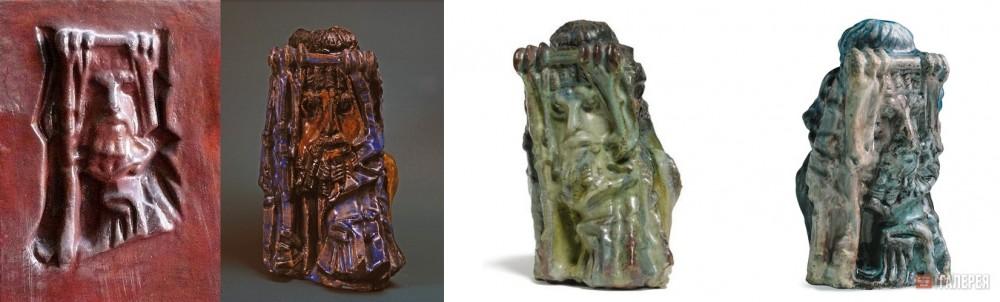 Фото слева - керамический рельеф в особняке Курлиной в Самаре. Остальные фотографии - объемные майоликовые скульптуры Михаила Врубеля (фотографии из открытых источников).