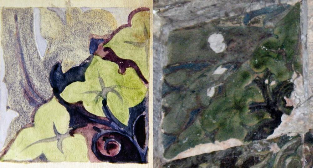 Эскиз из книги «В творческой мастерской П.К. Ваулина» и керамика в Чапаевске (зеркальный вариант).