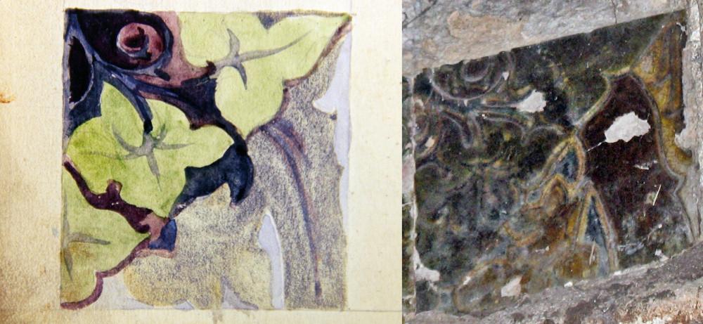 Эскиз из книги «В творческой мастерской П.К. Ваулина» и керамическая плитка на храме в Чапаевске.