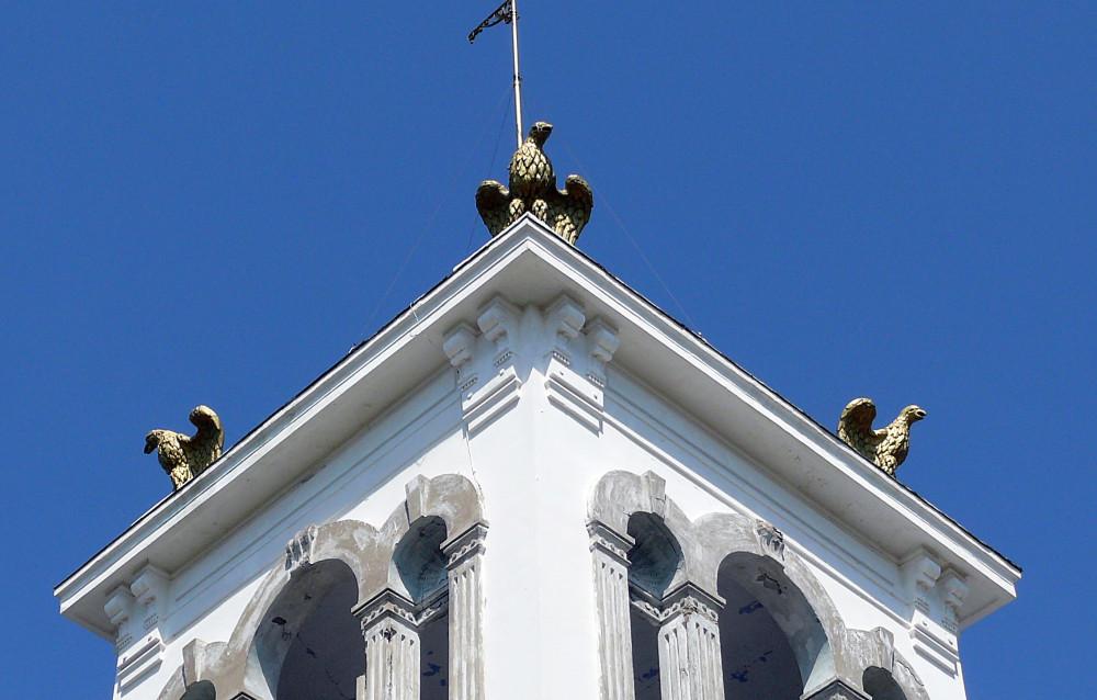 Птицы на башне дачи купца Соколова.
