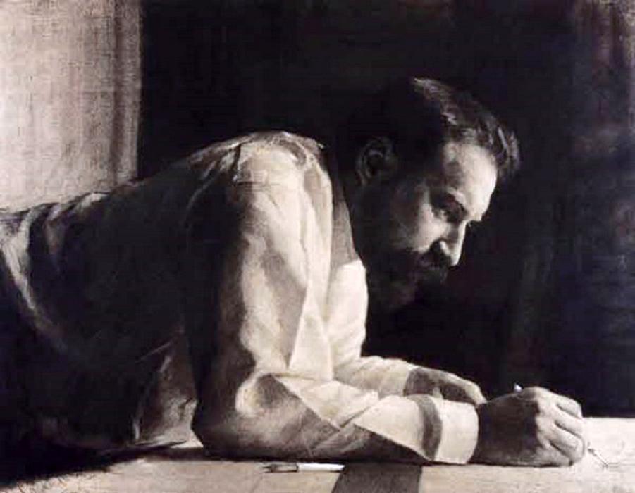 Лев Кекушев за работой. Художник В. Соколов. 1899 год.