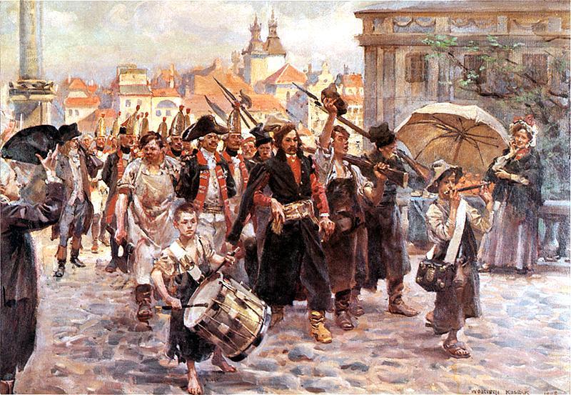 Так это выглядело глазами поляков. Доблестный сапожник ведет пленных русских при полном их параде. И трохи детишки помогают.