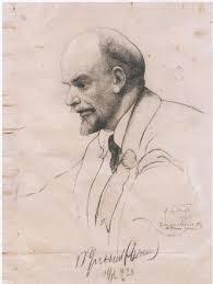 Карандашный рисунок с автографом Ленина.