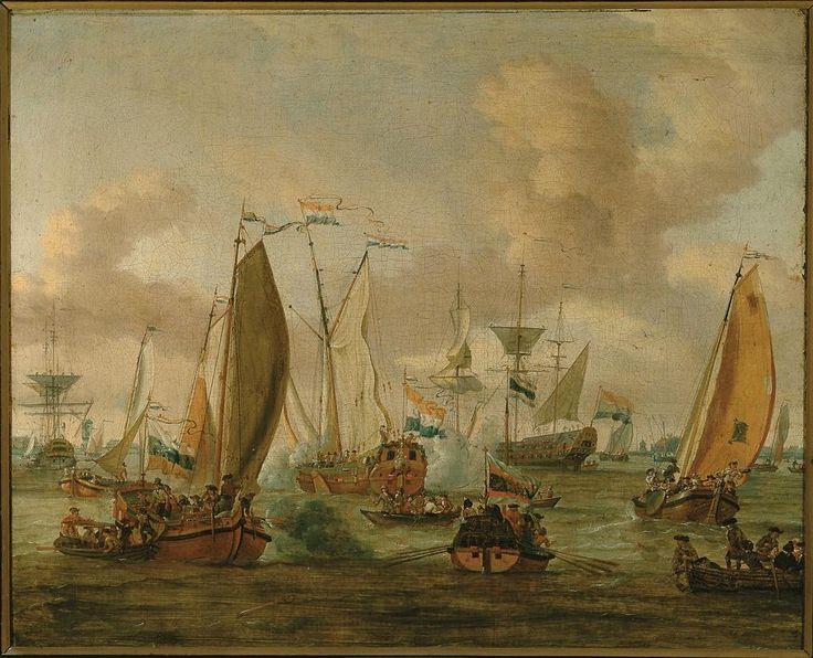 Абрахам Строк. Учебный бой на реке Эй в честь Пета Первого в 1698 году. Музей Франка Хальса.
