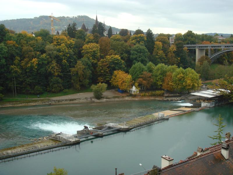 Речка Ааре, на которой стоит Берн,  и памятник медведю, в честь которого назван город. Там где много пены.