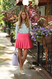 pink-skirt-denim-chambray-shirt