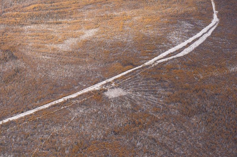 Дорога в тайге и ''солнышко'' непонятного назначения
