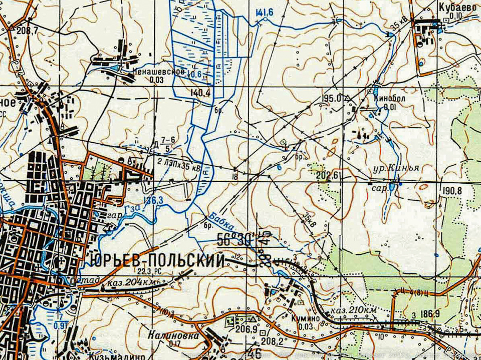 Топографическая карта села Кинобол