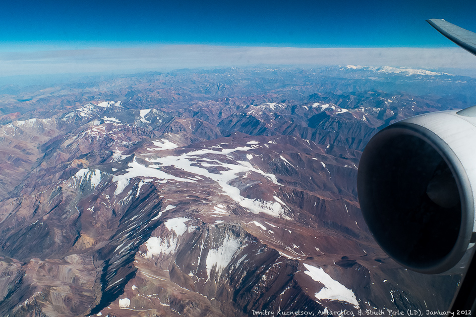 Летим над Андами, подлетаем к Сантьяго