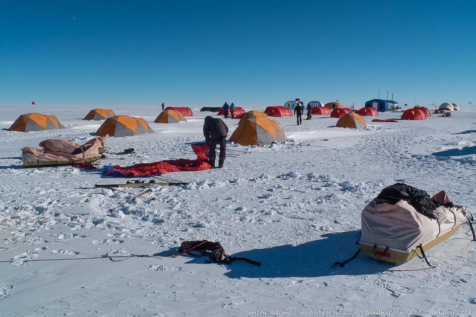 Ставим палатки в прямой видимости полюса