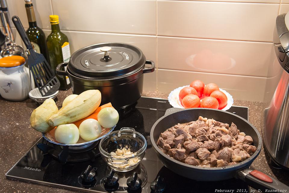 Баранина с овощами - подготовка