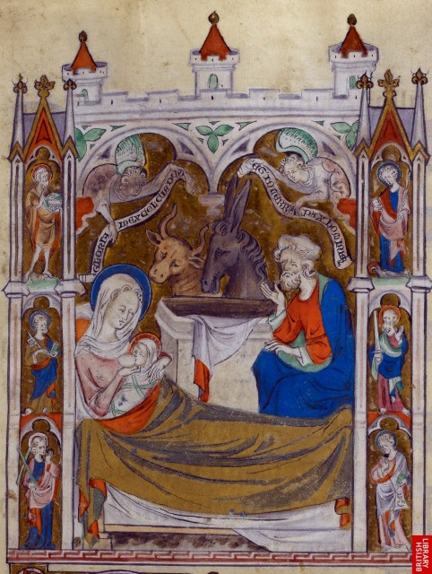 Queen Mary Psalter. British Library, London. Royal 2 B VII   f. 85   Nativity