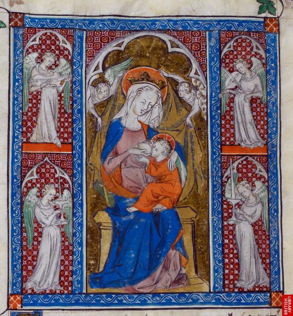 Queen Mary Psalter. British Library, London. Royal 2 B VII   f. 303v   Suckling child