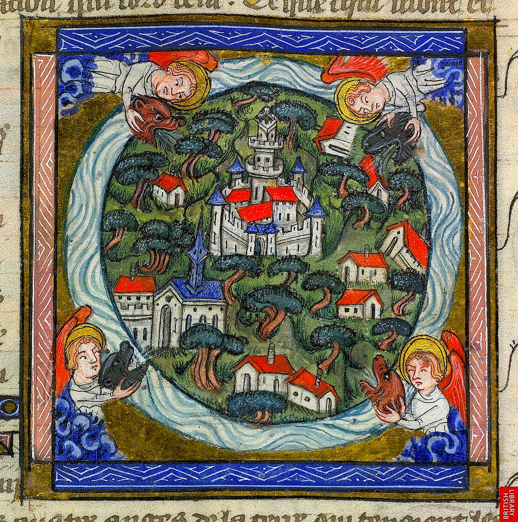 Four Winds. Revelations 7. 1-2. France c.1370-90. YT 10 f.11v. Brit Lib