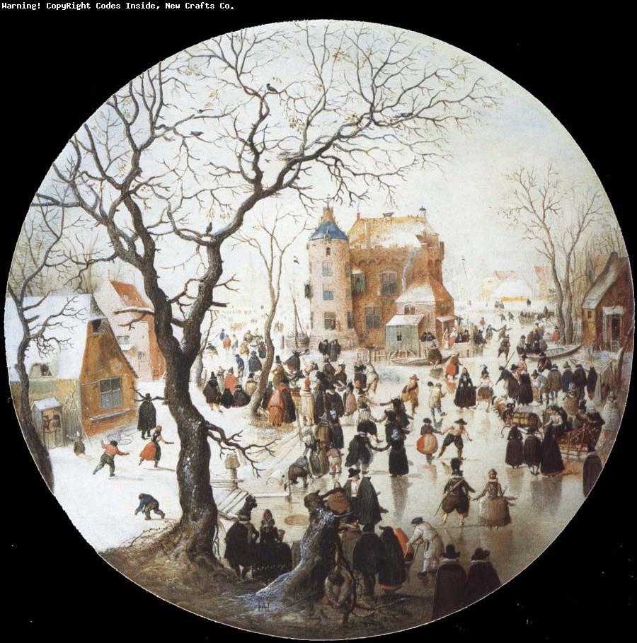 Hendrick Avercamp - A Winter Scene with Skaters near a Castle