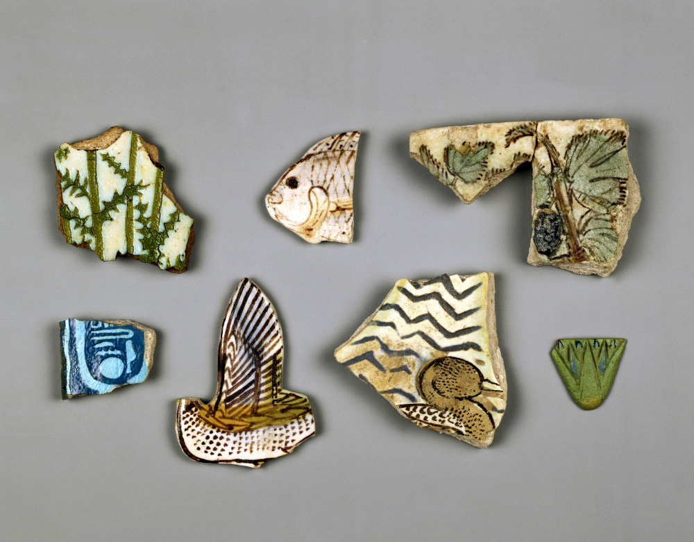 Examples of fragments of coloured tiles as wall-inlays, New Empire, 18th dynasty, 1351-1334 BC