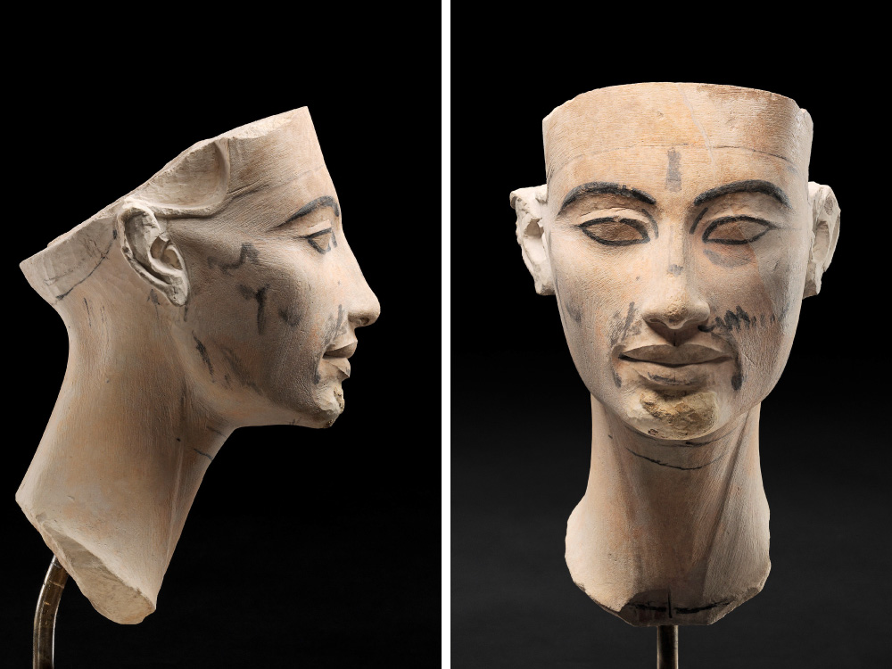 Unfinished model head of a statue of Nefertiti, New Empire, 18th dynasty,  1351-1334 BC