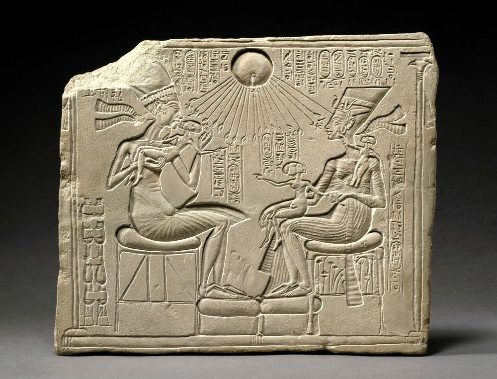 Relief portraying King Akhenaten, Queen Nefertiti and three daughters, New Empire, 18th dynasty, 1351-1334 BC