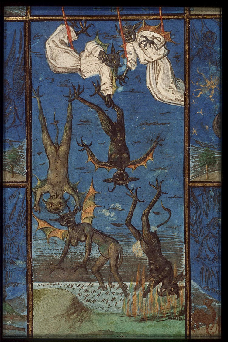 The Hague, KB, 76 E 7, f. 1r. Bible moralisée, Bruges; c. 1455-1460. The fall of the rebel angels