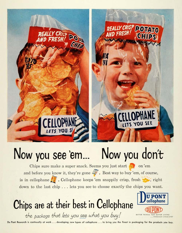 1957 Ad Du Pont Cellophane Chip Bag Lets You See Fresh Crisp Food Wrap Package