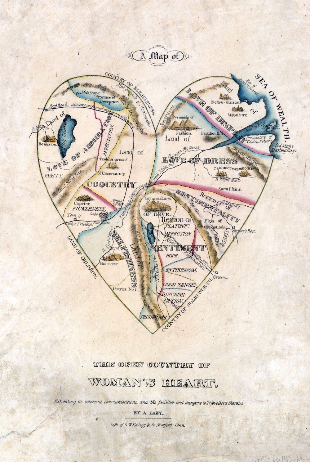 A Map of the Open Country of a Woman's Heart by D. W. Kellogg circa 1833-1842