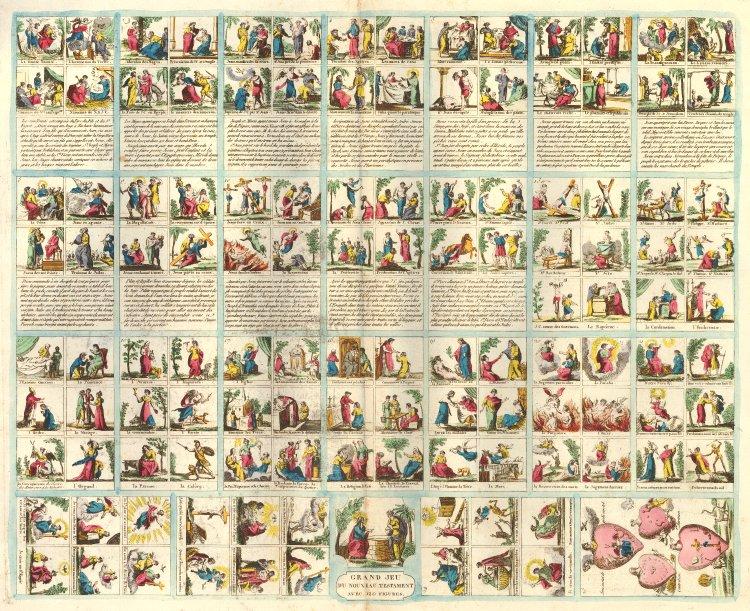 Grand jeu du nouveau testament avec 120 figures. Jeu et tableaux du nouveau testament. Verso