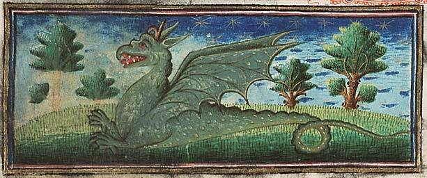 Medieval Bestiary. Museum Meermanno, MMW, 10 B 25, Folio 39r A fierce green dragon