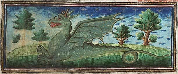 Medieval Bestiary. Museum Meermanno, MMW, 10 B 25, Folio 39r A fierce green dragon