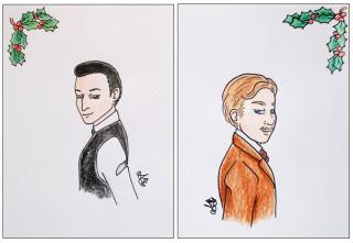 Christmas cards: Holmes & Watson
