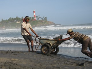 Rebuilding the sea wall, Kovalum, Kerala