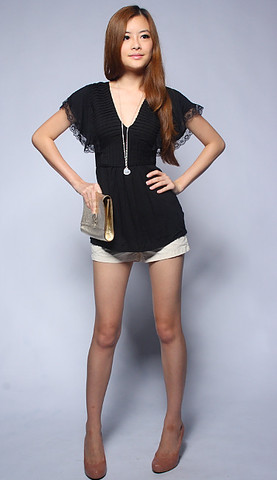pleated lace hem sleeved flutter top