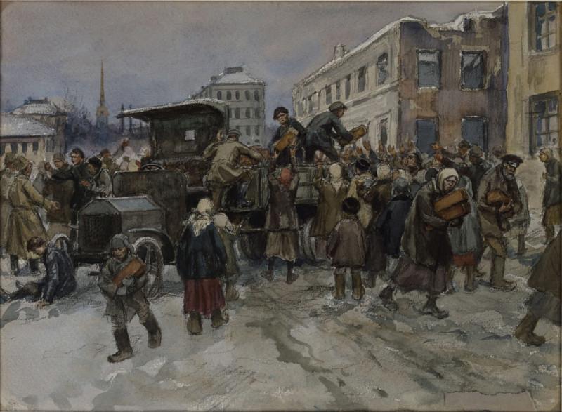 Голодные рабочие в Петрограде грабят военный грузовик с хлебом
