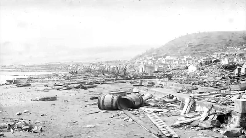 о-ов Мартиника. Сен-Пьер в руинах после произошедшего.