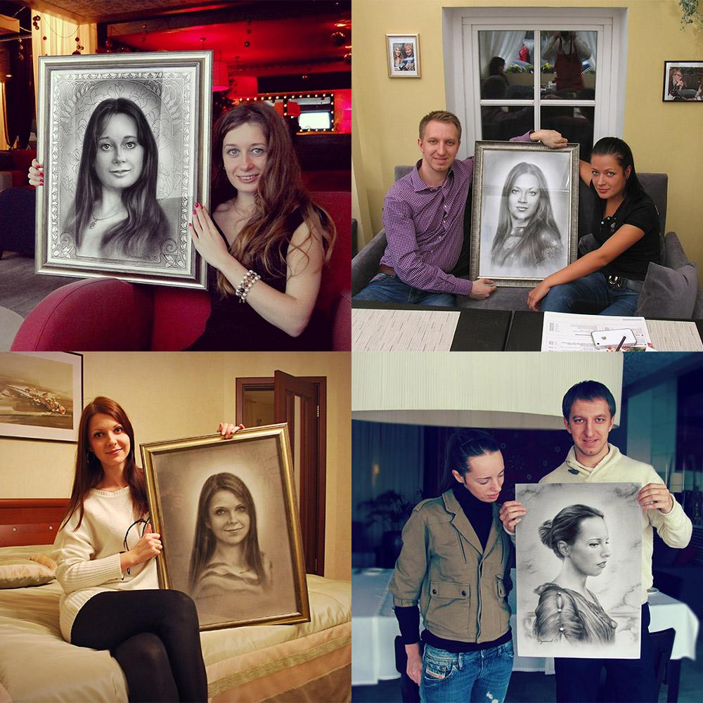 Портреты, сухая кисть, художник