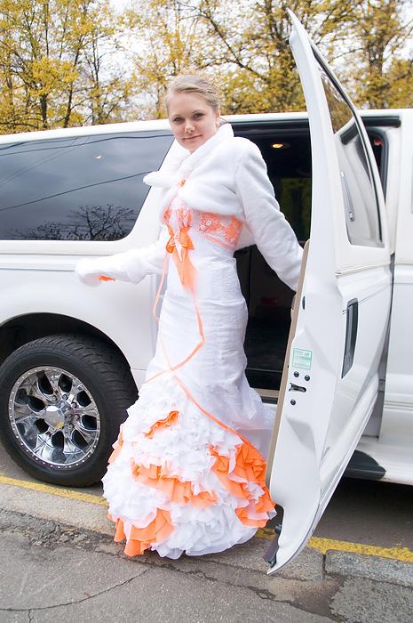 Robe à La Mode Robe Blanche Et Orange