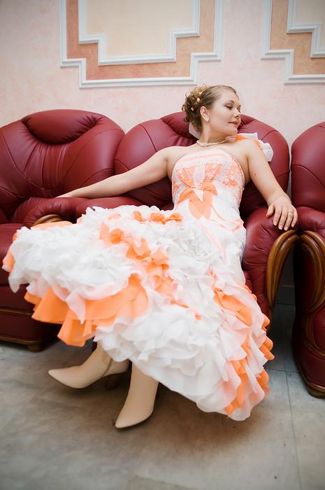 Robe De Mariee Blanc Et Orange Robe à La Mode 2019