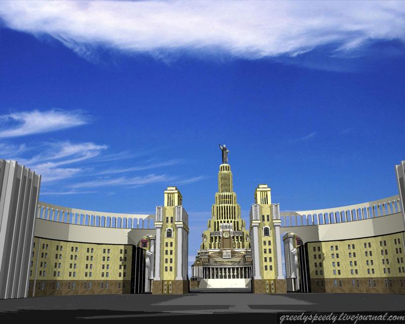Москва. Дворец Советов в 3d. Трехмерная модель Дворца советов в Москве.