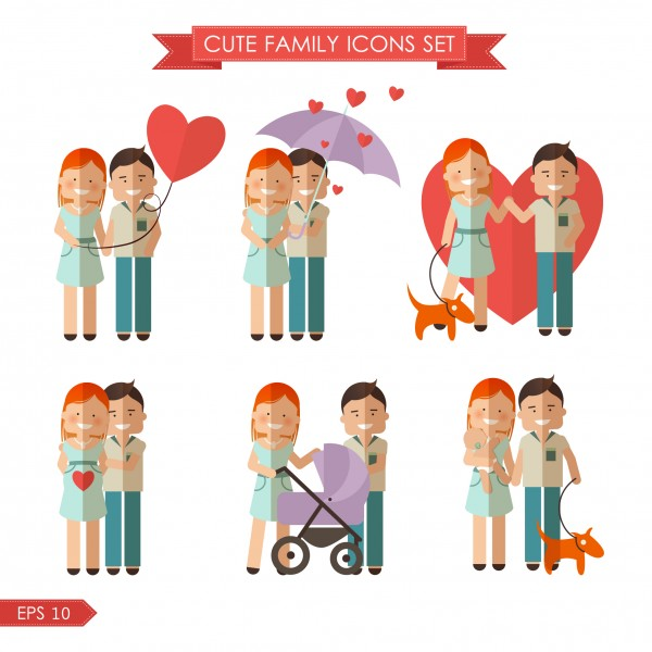 Stock vector set of cute  family  icons