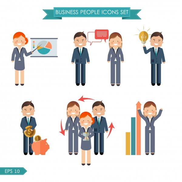 Vector business people flat icons set