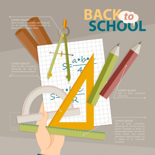 stock vector back to school geometry infographic