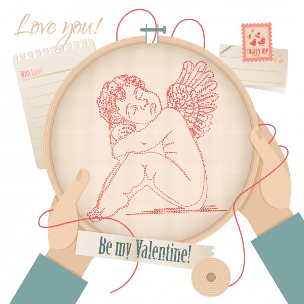 Happy Valentine's Day card with an angel embroidery-01